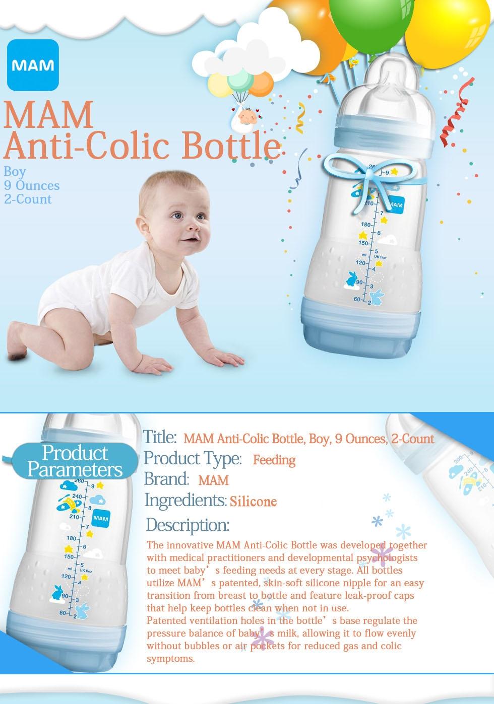 Mam Anti Colic Bottle Boy 9 Oz 2 Count Savefavor Buy 1 Get Free Blue Image