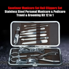 Savefavor Manicure Set Nail Clippers Set Stainless Steel Personal Manicure & Pedicure Travel & Grooming Kit 12 in 1