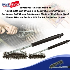 "Savefavor - a Must Have 18"" Best BBQ Grill Brush 3 in 1, Durable and Effective, Barbecue Grill Brush Bristles are Made of Stainless Steel Woven W"
