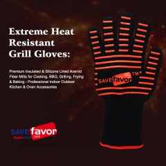 Extreme Heat Resistant Grill Gloves: Premium Insulated & Silicone Lined Aramid Fiber Mitts for Cooking, BBQ, Grilling, Frying & Baking- 1 pair
