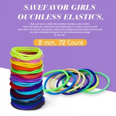 savefavor Girls Ouchless Elastics, 2 mm, 72 Count