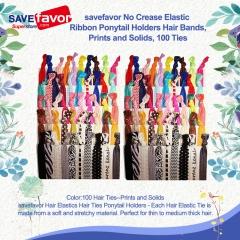 savefavor No Crease Elastic Ribbon Ponytail Holders Hair Bands, Prints and Solids,100 Ties