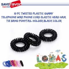 savefavor 10 pc Twisted Plastic Gummy Telephone Wire Phone Cord Elastic Head Hair Tie Band Ponytail Holder Black Color