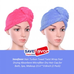 savefavor Hair Turban Towel Twist Wrap Fast Drying Absorbent Microfiber Dry Hair Cap for Bath, Spa, Makeup 23.4 * 9.8inch (2 Pack)